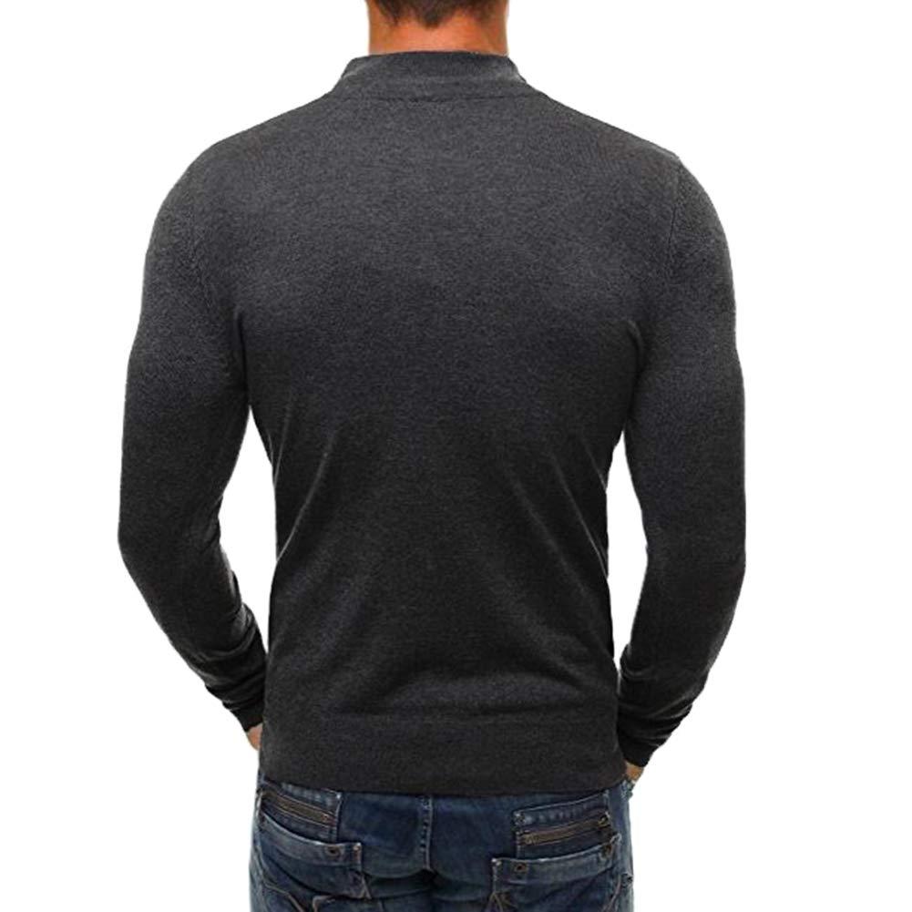 H2okp-009 Hommes Chic Couleur Unie Col Montant Pull /À Manches Longues Fermeture /Éclair Tricot/é Plus Chaud Pull Top Blouse