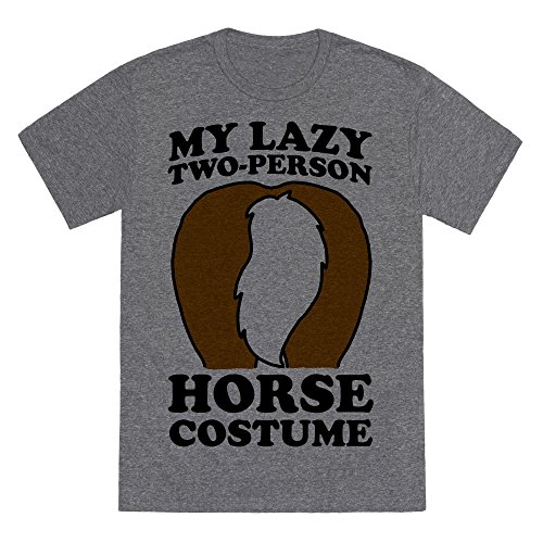 LookHUMAN My Lazy Two-Person Horse Costume (Butt) Heathered Gray XL Mens/Unisex Fitted Triblend Tee -