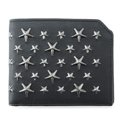 (ジミーチュウ) JIMMY CHOO 折財布 ALBANY BLS 024/BLACK×GM 財布 二つ折り アルバニー スターデザイン レザー ブラック×ガンメタル [並行輸入品] B01MU36QGF
