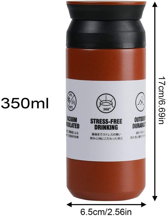 EKKONG Bottiglia Termica per Auto Ufficio Sportiva Riutilizzabile Prova di Perdite 350 ml Mug Thermos Freddo,Tazze Caffe t/è da Viaggio Doppia Bottiglia per Vuoto in Acciaio Inossidabile