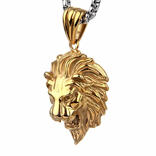 Lions head necklace amazon copaul jewelry punk mens stainless steel animal lion head shape pendant necklacegold color aloadofball Choice Image