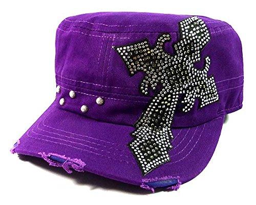 Rhinestone Cross Bling Cadet Hats Fashion - Purple
