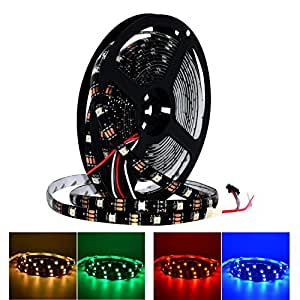 S NMT 5M DC5V RGB Led Strip Light WS2812 IP65 Waterproof for Advertisement Home Indoor Outdoor Decoration Lighting (Black FPCB IP65 30LEDs)