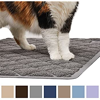 Gorilla Grip Original Premium Durable Cat Litter Mat (35x23), XL Jumbo, No Phthalate, Water Resistant, Traps Litter from Box and Cats, Scatter Control, Soft on Kitty Paws, Easy Clean (Gray)