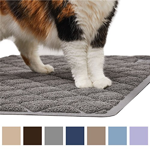 Litter Trapper Mat - Gorilla Grip Original Premium Durable Cat Litter Mat (35x23), XL Jumbo, No Phthalate, Water Resistant, Traps Litter from Box & Cats, Scatter Control, Soft on Kitty Paws, Easy Clean Cat Mat (Gray)