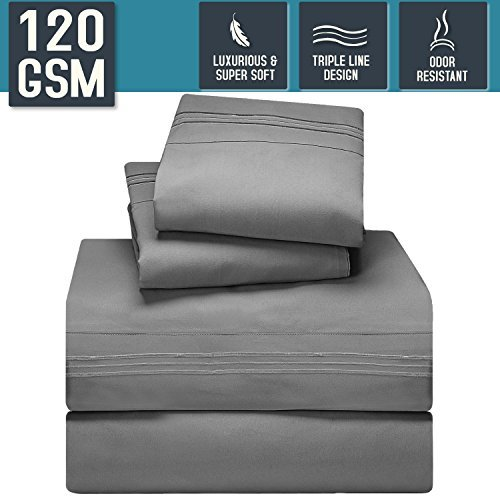 Bed Sheet Set, Queen Size, Gray, Super Soft 120 GSM - Anti Odor Treatment - Corner Elastic Strap for a Snug Fit, Matching 3 Line Embroidery on Pillowcases and Flat Sheet - Nestl Bedding by Generic
