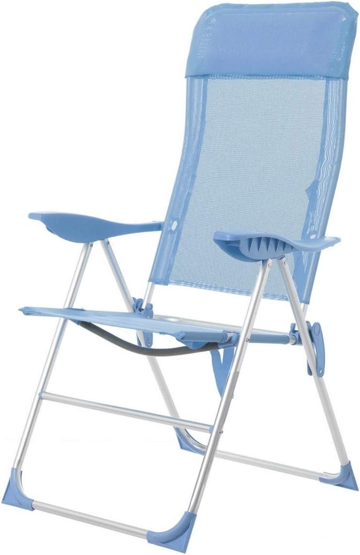 LOLAhome Silla Plegable con cojín para la Playa 5 Posiciones (Azul)