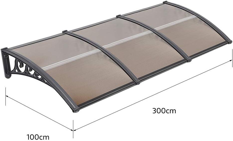 Haust/ürvordach Vordach Haust/ür /Überdachung T/ürdach Pultbogenvordach Haust/ürvordach Sonnenschutz Regenschutz Pultvordach dunkelbraun 100x300cm