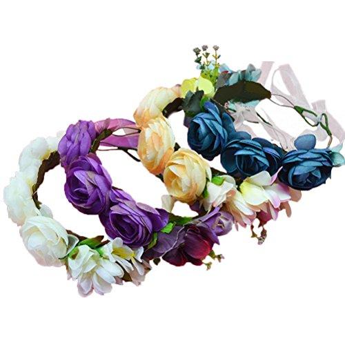 Vivivalue Boho Flower Wreath Crown Headband Floral Garland with Ribbon for Festival Wedding Beige