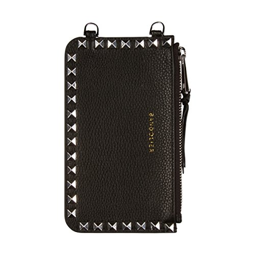 Bandolier [Sarah] Leather Pouch - Black with Silver Accent and Pyramid Studs - Compatible with All Bandolier Phone Cases