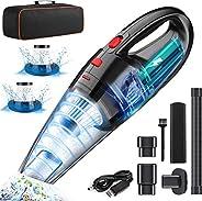 LETTURE Aspiradora de Mano sin Cable Potente, Aspirador de Coche de 120W con 2 Filtros Lavable, Aspiradora Rec