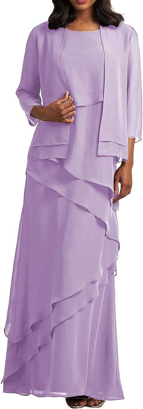 HUINI Abendkleider Lang Brautmutterkleied Etuikleider Chiffon Lang /Ärmel Partykleider Festkleider Ballkleider