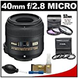 Nikon 40mm f/2.8 G DX AF-S Micro-Nikkor Lens + 7 UV/FLD/CPL & Close-up Filters + Nikon Cleaning Kit for D7000, D5100, D5000, D3100, D3000, D90, D300s Digital SLR Camera