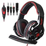 SADES SA810 Stereo Gaming Headset for Xbox One, PC,PS4 Headset Nintendo Over-Ear Headphones with Noise Canceling Mic,Soft Ear Cushion,3.5mm Jack Cable for Mac Laptop Tablet Smartphone(BlackRed)