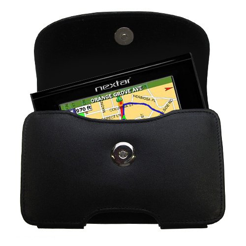 Belt Mounted Leather Case Custom Designed for the Nextar M3 GPS - Black Color with Removable Clip by Gomadic