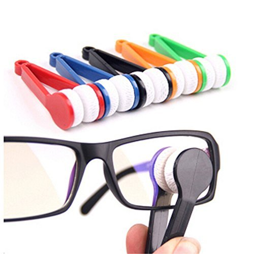 Onwon 5 Pcs Mini Sun Glasses Eyeglass Microfiber Spectacles Cleaner Soft Brush Cleaning Tool Mini Microfiber Glasses Eyeglasses Cleaner Cleaning Clip (Random - Sunglasses Cleaner