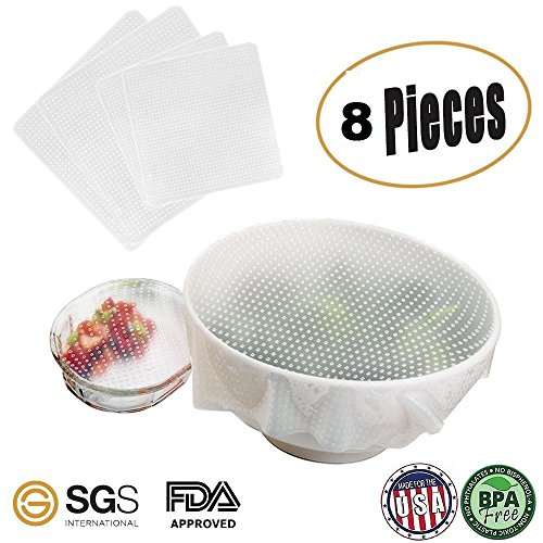 V3 Premium Quality Set of 8 Silicone Seal Bowl Covers and Food Stretch Lids Reusable Keep Food Fresh Plastic Wrap for Environmental Food Wraps