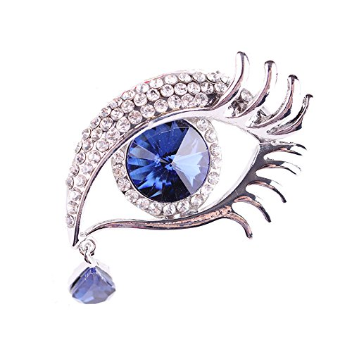 MUZHE Elegant Crystal Big Eye Water Drop Tears Brooch Pin for Women Wedding Party Gifts (Blue)