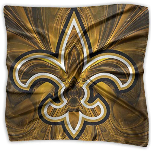 FaceTi New Orleans Saints Primary 100% Polyester Silk Feeling Large Square Kerchief Neck Scarf Women Headdress