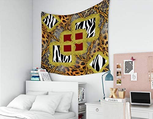 EMMTEEY Wall-Hanging-Tapestry, Tapestries Décor Living Room Bedroom for Home Inhouse by Printed 60x50 Inches for Leopard Pattern Golden Chain backgroundSilk Scarf Illustration - Baroque Golden Chain 50