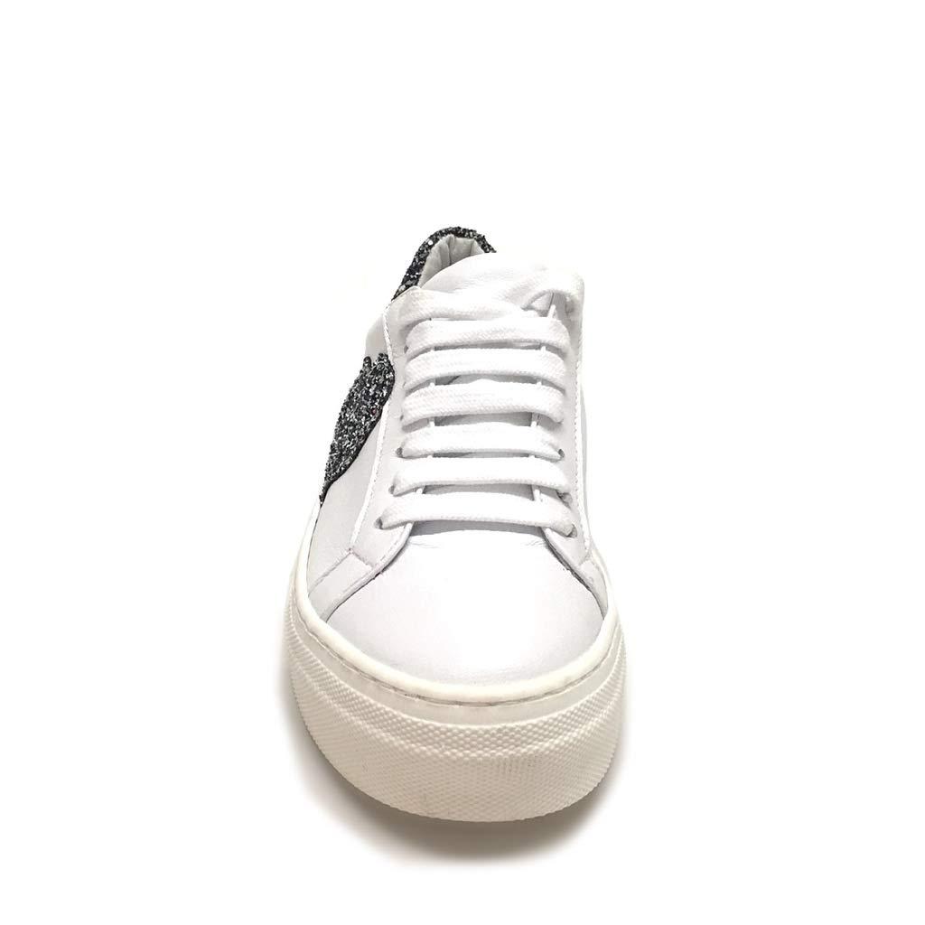 Sneakers Donna Bianche con Cuore Glitter Acciaio Vera Pelle Made in Italy