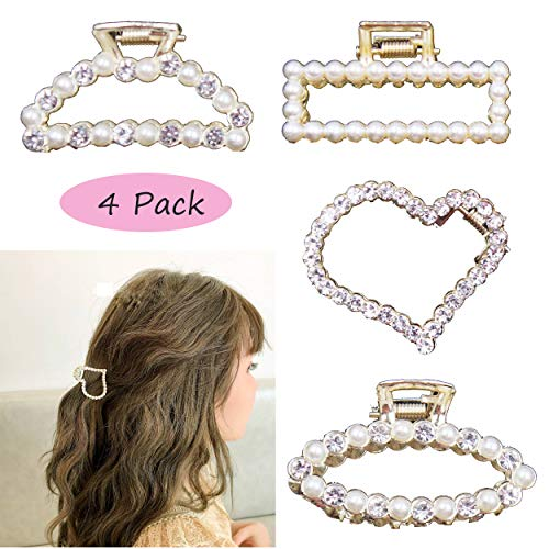 4PCS Faux Pearls Hair Claw Clip Handmade Rhinestone Crystal Hair Claw Hair Accessories for Girls Women