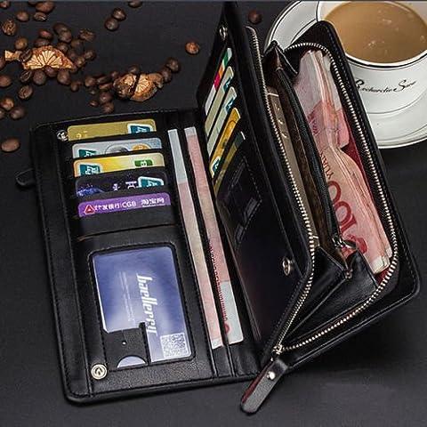 New <1&> Men's Long Leather Bifold ID Card Holder Clutch Wallet Purse Checkbook Handbag