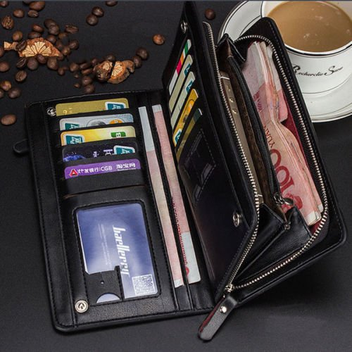 New <1&> Men's Long Leather Bifold ID Card Holder Clutch Wallet Purse Checkbook - New Pradas