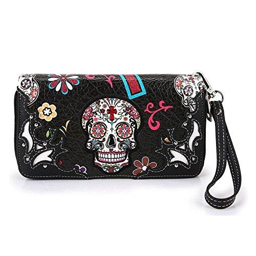 Cowgirl Trendy Western Purse Sugar Skull, Cross Clutch Wallet Day of the Dead Wristlet, Black (Cross 5607)