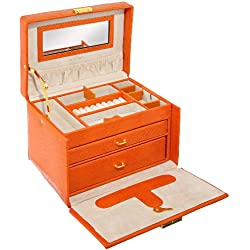 Paylak TS382OGE Orange Leather Large Lock Jewelry Box with Travel Case Tech Swiss