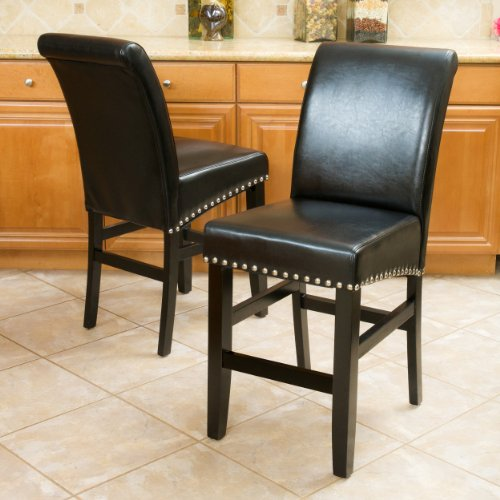 (Great Deal Furniture Clifton Black Leather Counter Stools w/Chrome Nailheads (Set of 2))