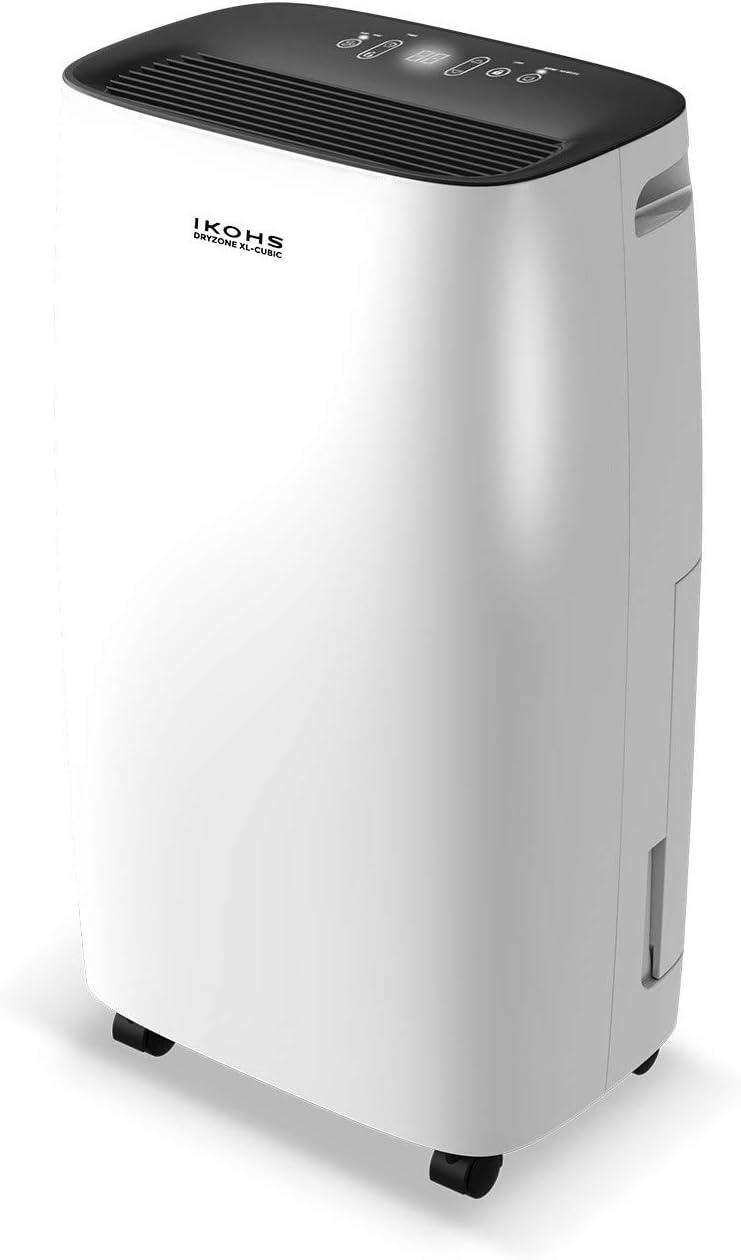 IKOHS DRYZONE XL - Deshumidificador eléctrico, Capaz de eliminar hasta 10 l de humedad diaria, Silencioso, Temporizador, Pantalla táctil, para Habitaciones y Estancias grandes 40m² (Blanco hasta 10 L): Amazon.es: Hogar