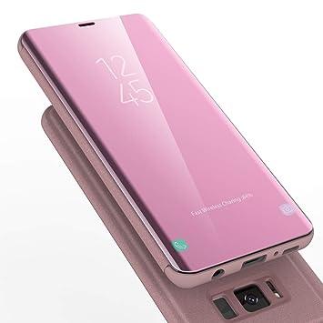 AURSEN Case de Teléfono para Samsung Galaxy S8 , Flip Cover Carcasa Samsung S8 , Soporte Plegable, Cierre Magnético - Oro Rosa