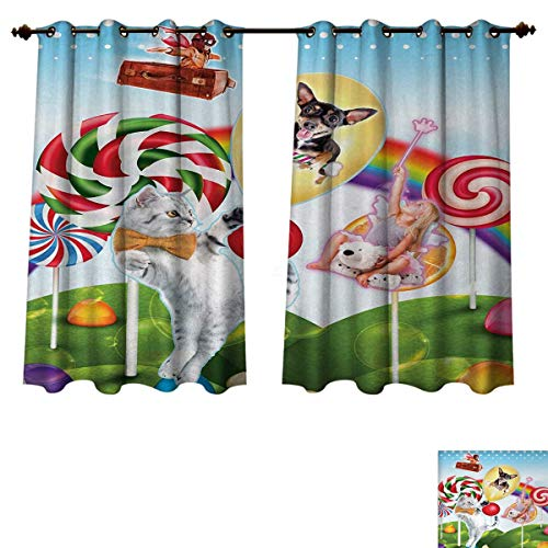 Anzhouqux Kids Blackout Thermal Curtain Panel Colorful Fantasy Land Rainbow Candy Trees Cat Dog Fairy Girl Boy Flying in Suitcase Patterned Drape for Glass Door Multicolor W52 x L63 inch