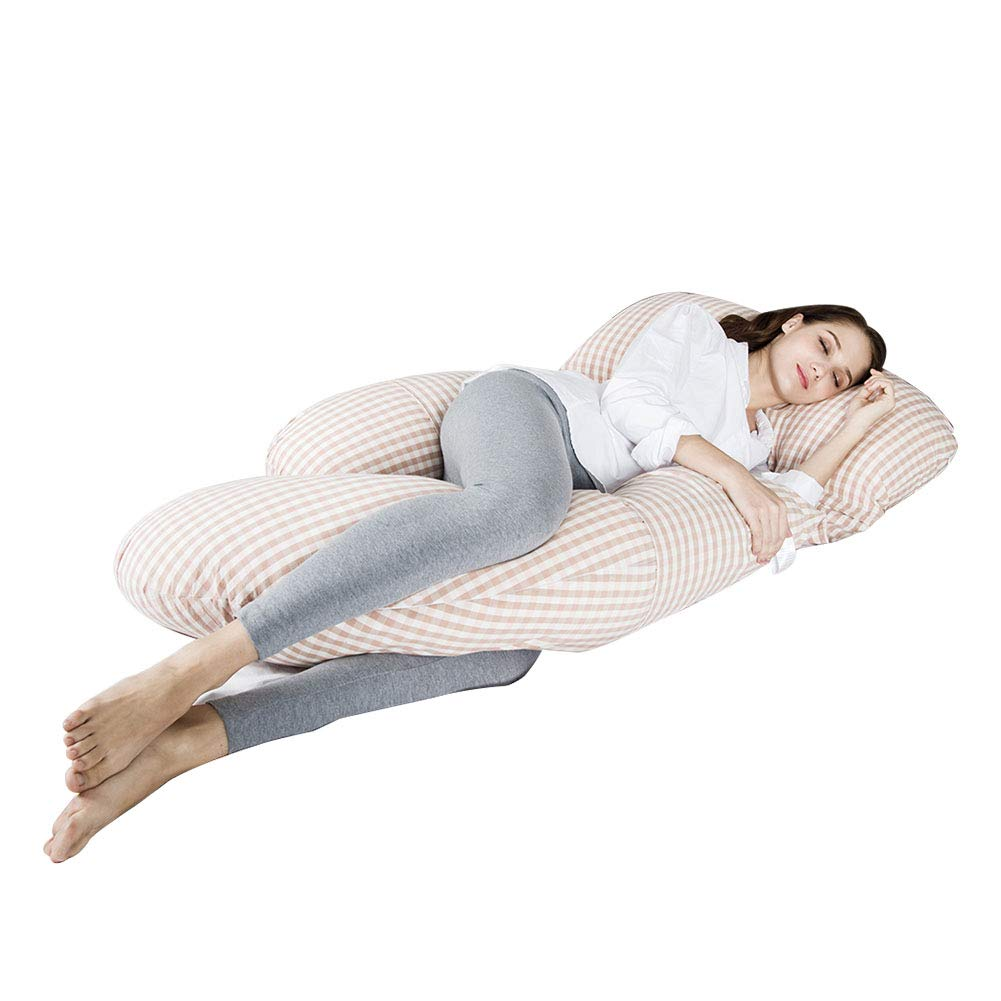 Three First Full Body Multifunctional Maternity Pillow with Washable Cotton Pillowcase Cover - G Shaped Pillow/ 100% EPE Cotton Filling