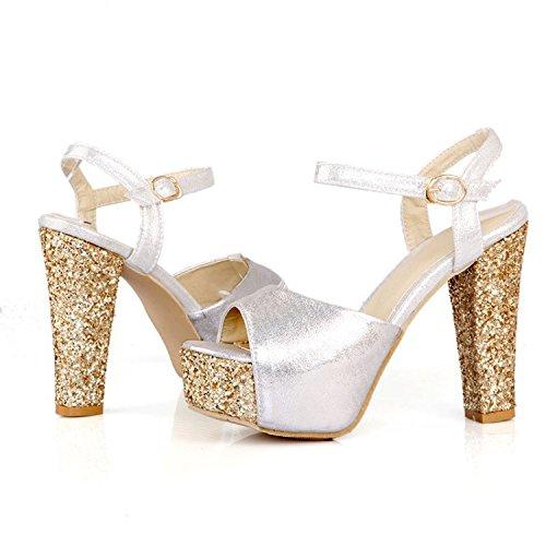 verano código con alta ultra moda sandalias con Plataforma Silver impermeable gran discoteca sandalias de de negrita en qPUzSTX