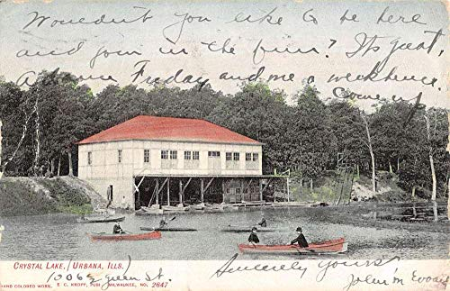 Urbana Illinois Crystal Lake Waterfront Antique Postcard K106002