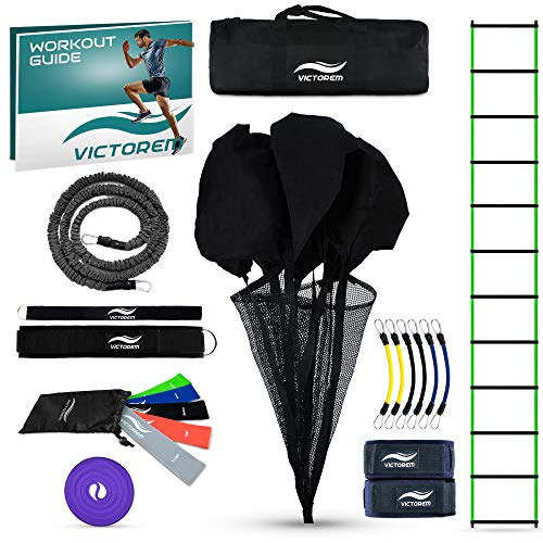 (Victorem Ultimate Speed Agility Training Set - Speed Bands, Parachute, Overspeed Bungee, Running Ladder- Physical Fitness Workout Set - Muscle Endurance - Football, Basketball, Soccer, Track and Field)