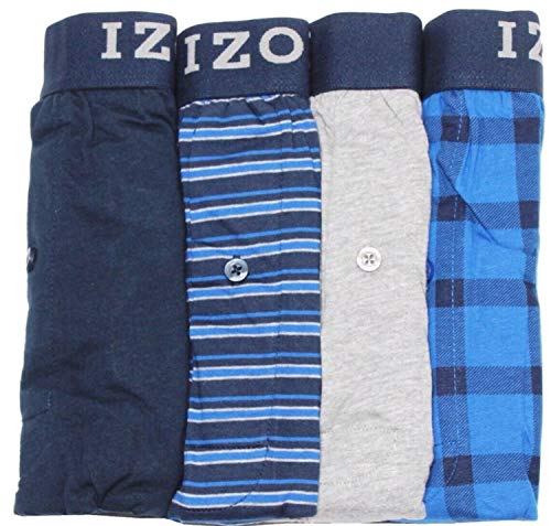 IZOD 4 Pack Knit Boxers (Navy/Blue Stripe/Grey/Blue Squares, X-Large)