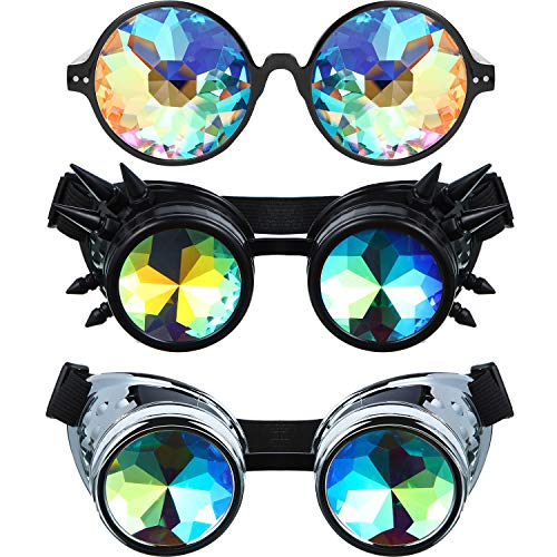 3 Pieces Kaleidoscope Goggles Rainbow Prism Sunglasses Vintage