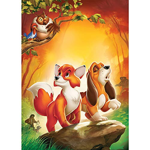 Photo Backdrop Newborn 5x7ft Cartoon Woodland Animals Orange Fox with Puppy Photography Background Baby Shower Banner Yellow Animation Forest Backdrop for Kids Birthday]()