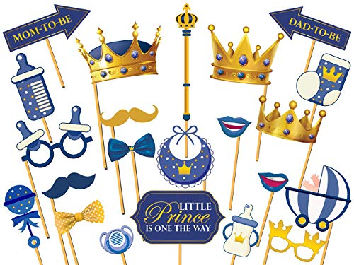 Prince Blue Frame (Little Prince Party Photobooth Props, Royal Photo Props, Golden Crowns, Baby Shower Favors, Gender Reveal Party Supplies, Party Props, Handmade Party Supply Photo Booth Props Size 36x24)
