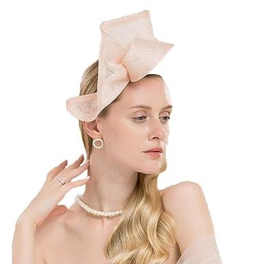a58c6f4d0 Pink Black Fascinators Hats for Women Elegant Sinamay Wedding Church ...