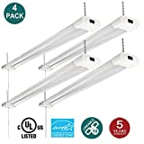 (4 pack) Linkable LED Shop Light with Pull Chain, 40W (120W Equivalent) 5000K Daylight 4000 Lumens UL & Energy Star, 4FT Indoor Utility Lights for Garage, Workshop, Basement