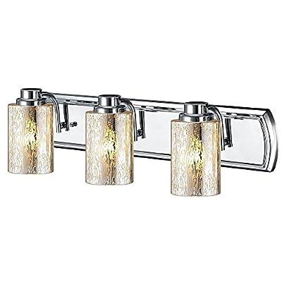Industrial Mercury Glass 3-Light Vanity Light in Chrome