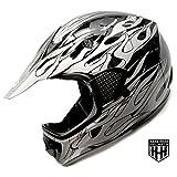 SmartDealsNow - HHH DOT Youth & Kids Helmet for Dirtbike ATV Motocross MX Offroad Motorcyle Street bike BLACK FLAME (Medium)
