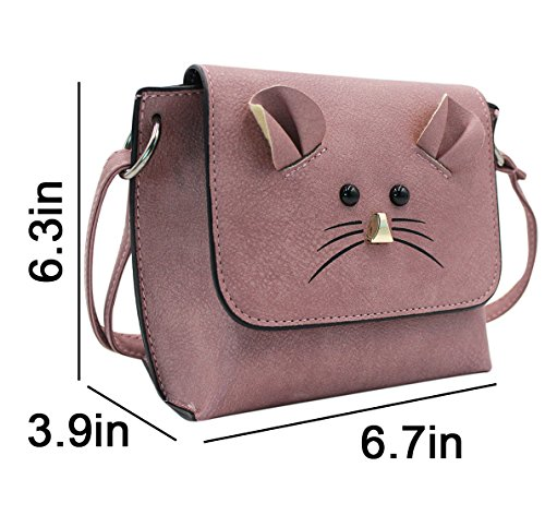 rosa le Pouch Purse Leather mano PU Crossbody Satchel Bag Sling donne Small Mouse Cellphone Borsa Cute Shoulder Coin per a qTHfFw