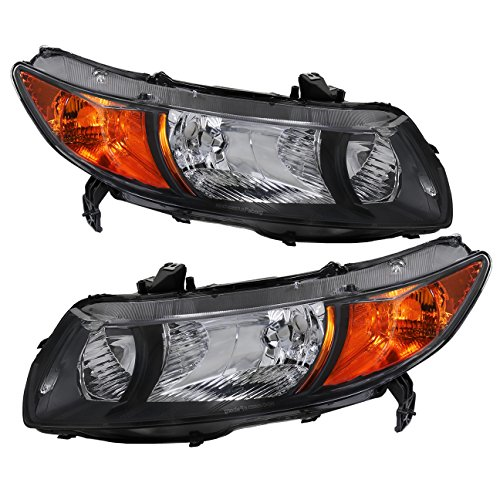 AJP Distributors For Honda Civic Coupe 2 Door FG1 FG2 JDM Assemebly Headlights Headlight Lights Lamps 2006 2007 2008 2009 2010 2011 06 07 08 09 10 11 (Black Housing Clear Lens Amber Reflector)