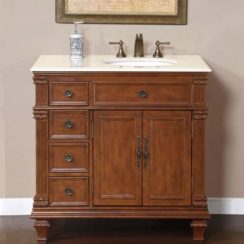 (Silkroad Exclusive HYP-0210-CM-UWC-36-R Marble Stone Top Single Sink Bathroom Vanity with Right Side Furniture Cabinet, 36