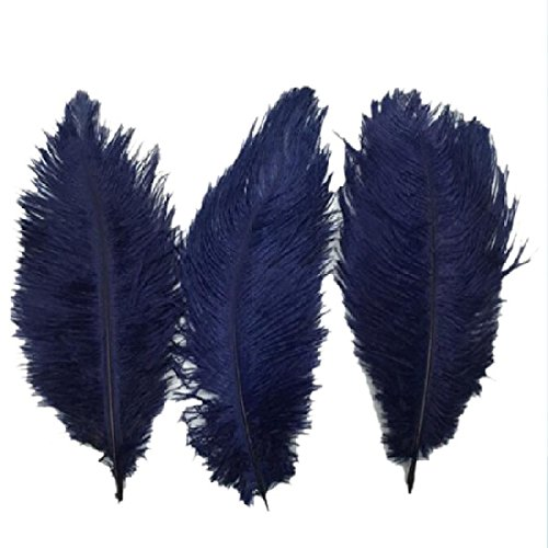 Navy Feather - Funnytoday365 10Pcs Navy Ostrich Feather 20-25cm Wedding Decoration Plumage Accessories Crafts Beautiful